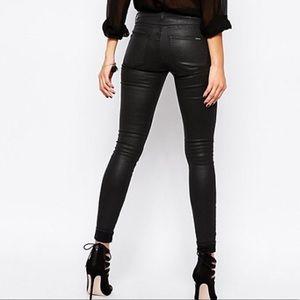 Mango Coated Leather Black Skinny Jeans